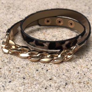 Adjustable leopard wrap bracelet